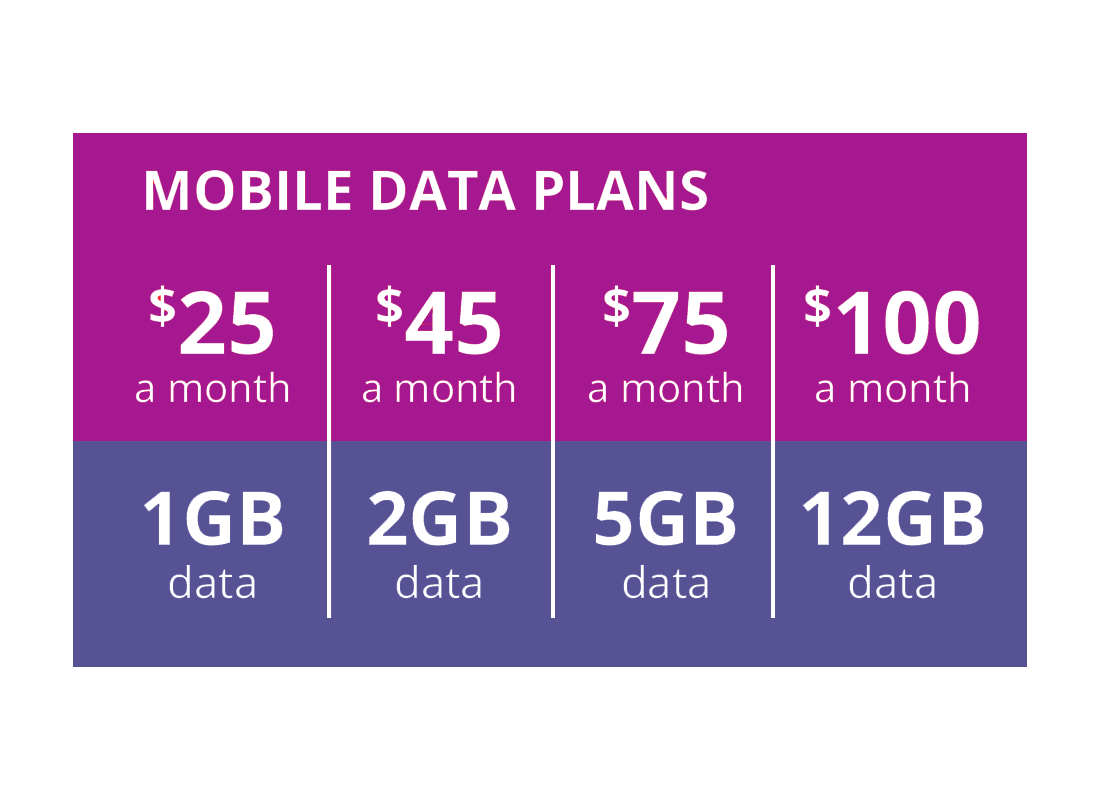 Mobile data plans come in small, medium, large and extra large sizes