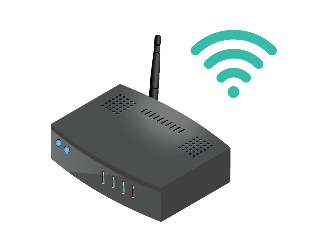 An illustration of a router, or modem, used access Wi-Fi in a home with the Wi-Fi signal icon hovering above it.