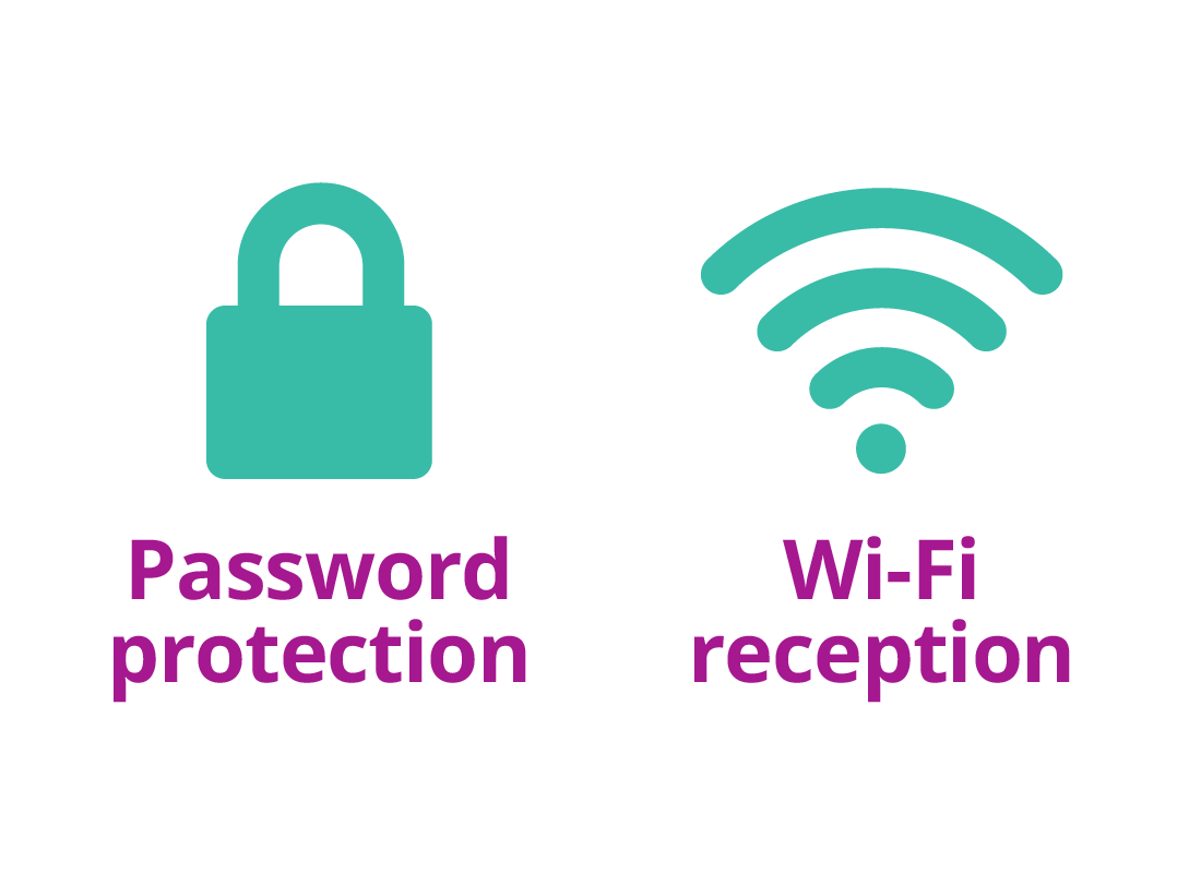A padlock that represents password protection and the Wi-Fi signal logo that represents Wi-Fi reception and signal strength.