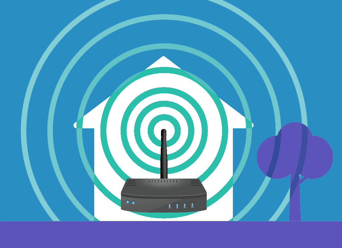 An illustration of a router transmitting a Wi-Fi signal throughout a home and a little beyond the house into the garden.