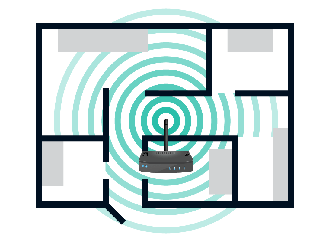 An illustration of a router transmitting a Wi-Fi signal through a house. One room of the house has thick walls and so we can see that the Wi-Fi signal is not being transmitted into that particular room.