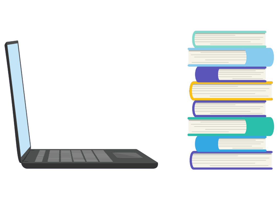 A laptop can hold a lot more information than a heavy pile of books, but is easier to carry around