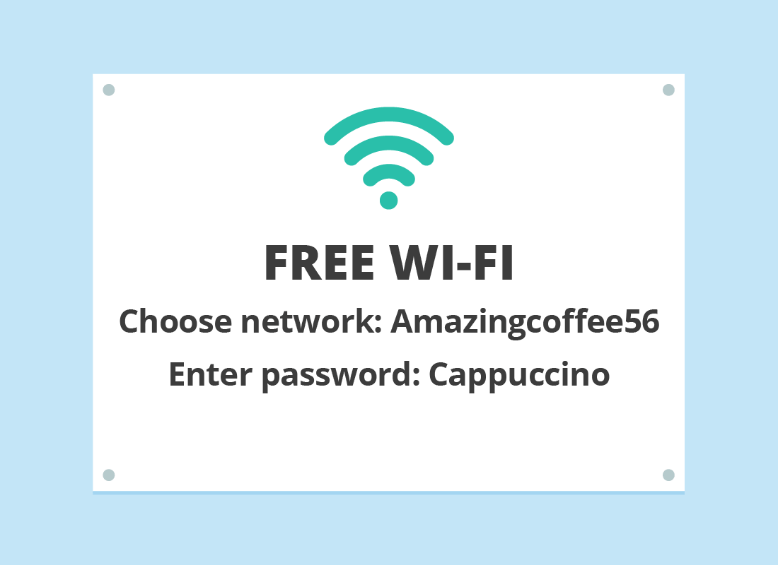 A typical sign explaining the username and password for a local cafe's free Wi-Fi