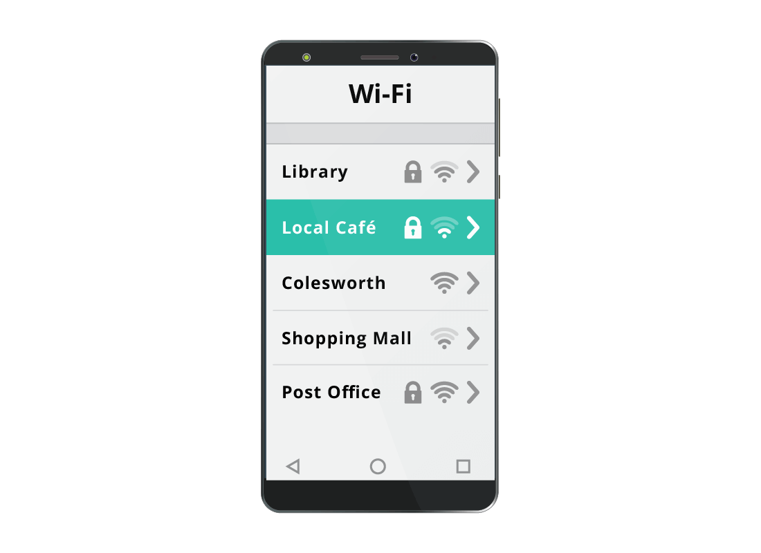 A mobile phone showing the Wi-Fi settings with the local cafe's Wi-Fi network selected
