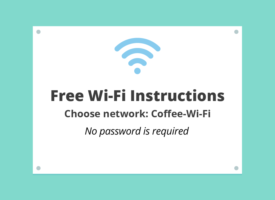 Connecting your device in a cafe with free Wi-Fi is very easy. The instructions are often at the counter or on each table.