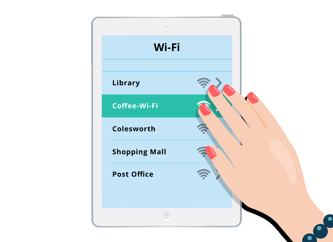 Donna chooses the cafe's Wi-Fi network from the list in her tablet device's settings