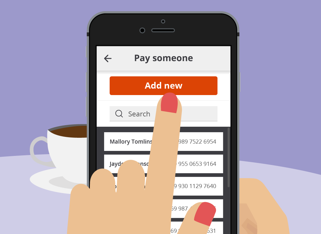 The Squirrel Bank Add new button on the Pay someone page