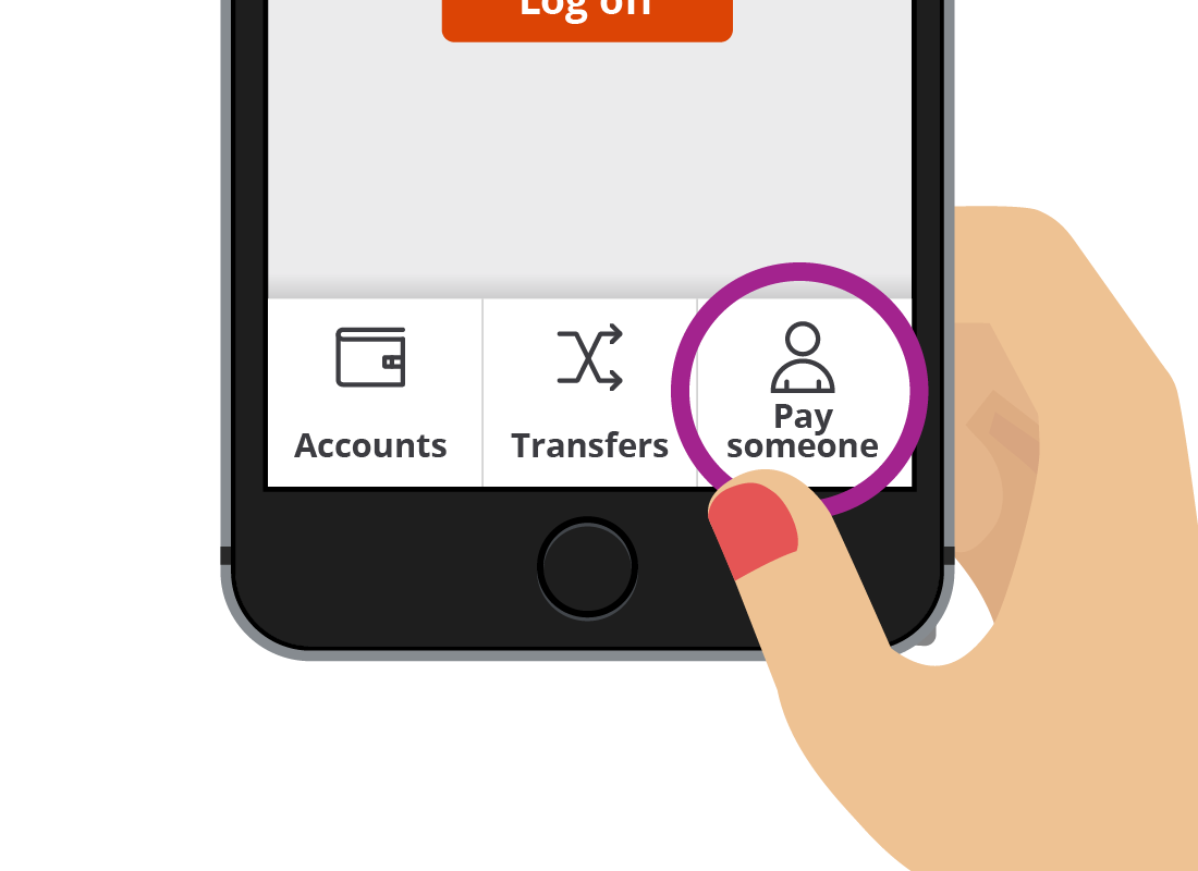 The Squirrel Bank mobile app options, including 'Pay someone'.