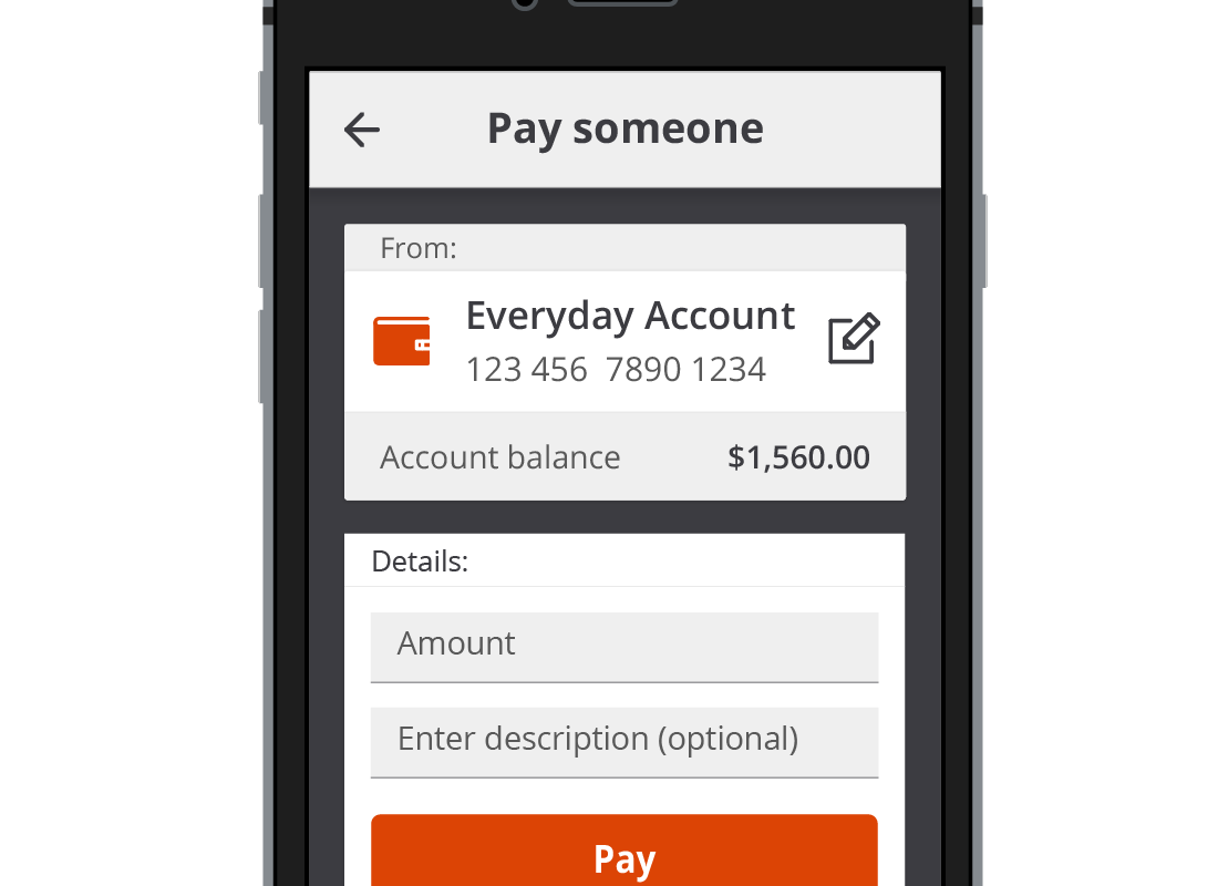 The Squirrel Bank app preparing to pay the Squirrel Power bill using BPAY.