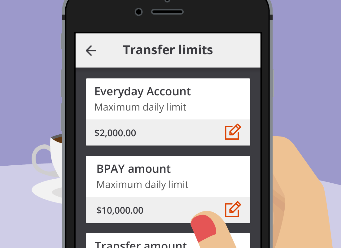 The Squirrel Bank Transfer limits page showing how much money can be transferred in one go from different accounts