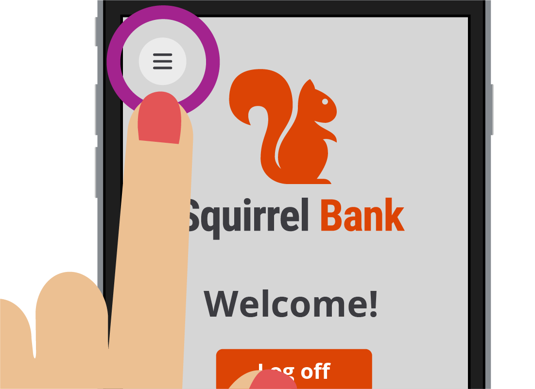 The Squirrel Bank mobile app showing the hamburger menu icon