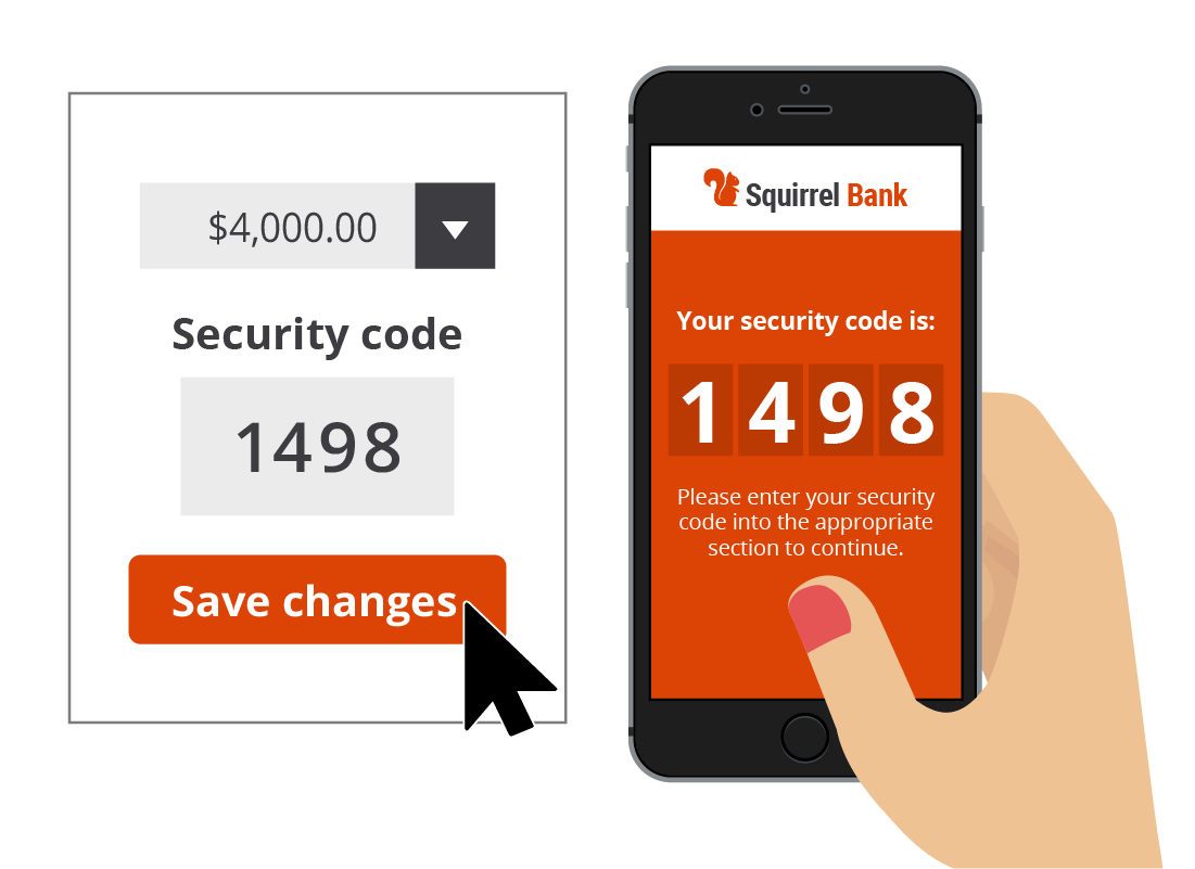A two-factor authentication code entered into the Squirrel Bank daily limit change request