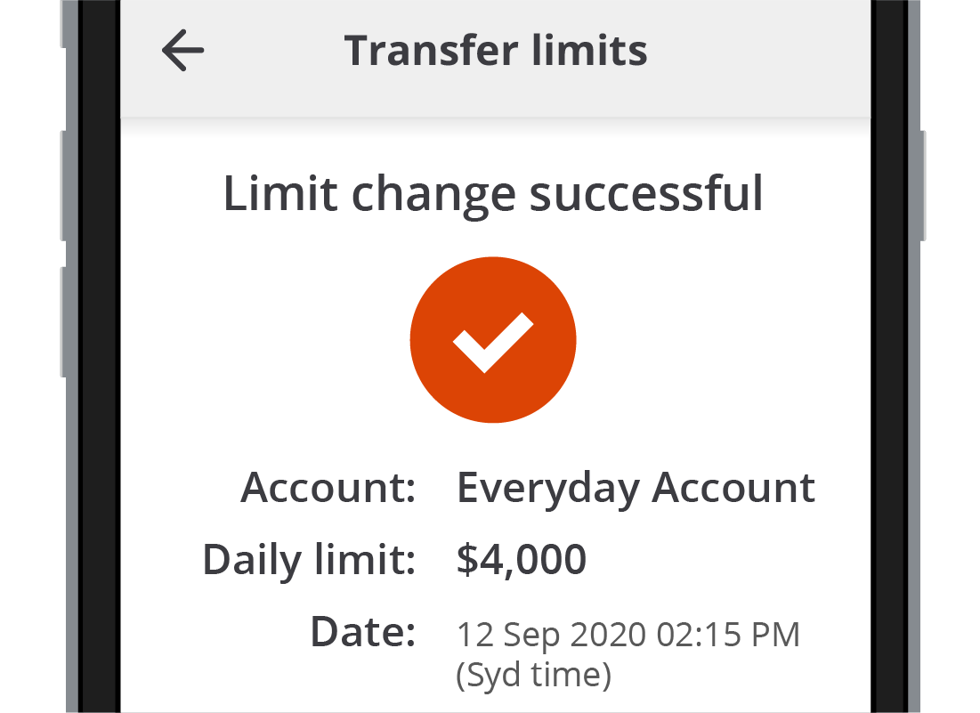 The Squirrel Bank Limit change successful message on the app