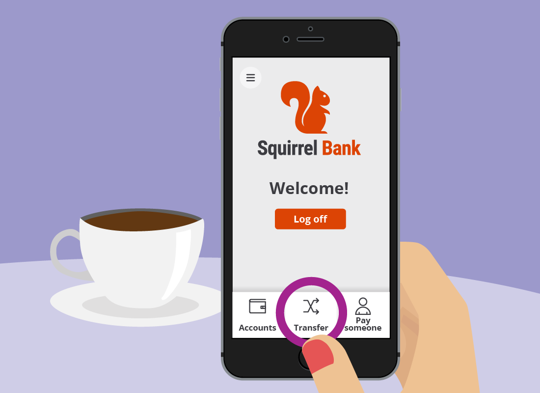 A close up of the Transfer button on the Squirrel Bank app home screen.