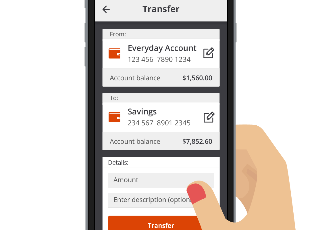 The Squirrel Bank transfer page listing to and from accounts ready to transfer money.
