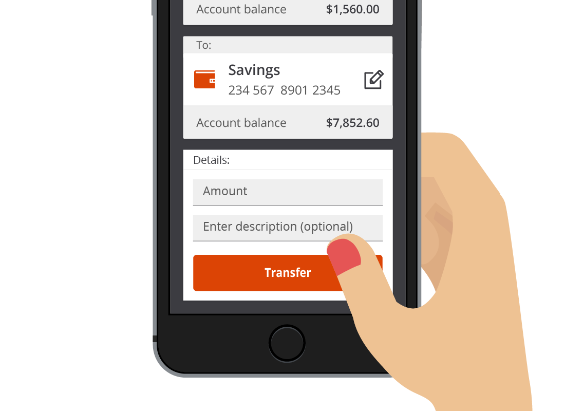 A detailed view of a transfer between accounts on Squirrel Bank mobile.