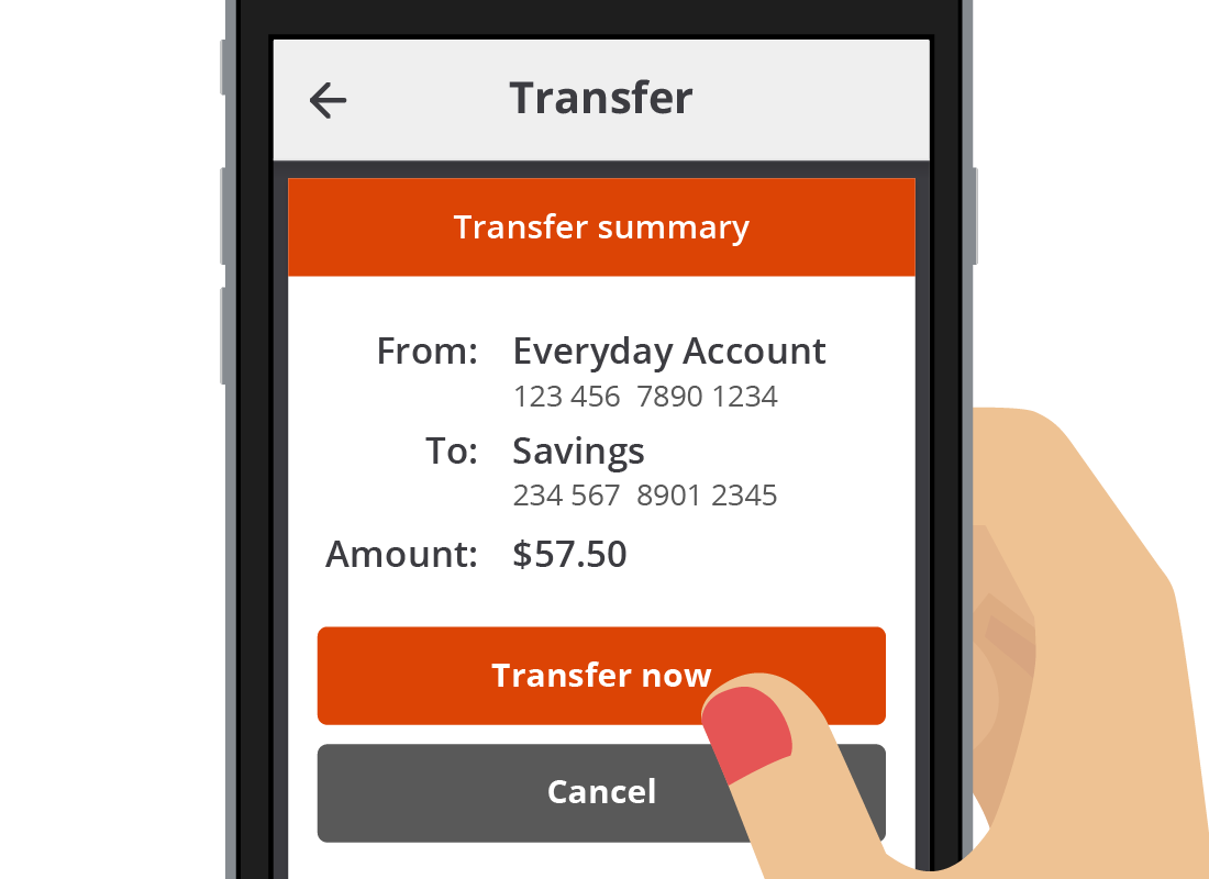 A close up of the Transfer now button on the Squirrel bank app.