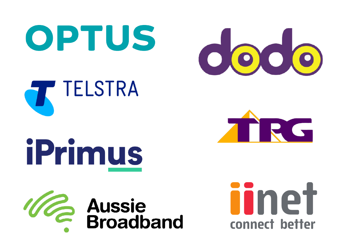 An illustration of a range of internet service providers in Australia, including Optus, Dodo, Foxtel Broadband, Telstra, i Primus and My republic.