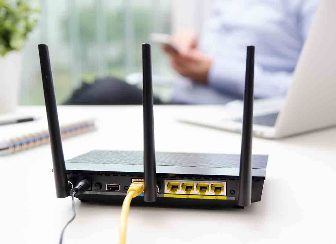 A router, or modem, which is the special box that you use in your house to get the internet. You can connect a cable to the router or modem and then put that cable into your device, or you can use the internet wirelessly through your home Wi-Fi.
