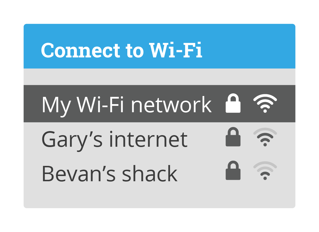 A list of Wi-Fi names with My Wi-Fi network selected