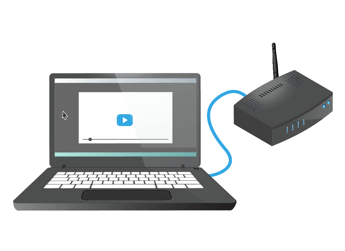 An illustration of a laptop computer connected to a router by a cable