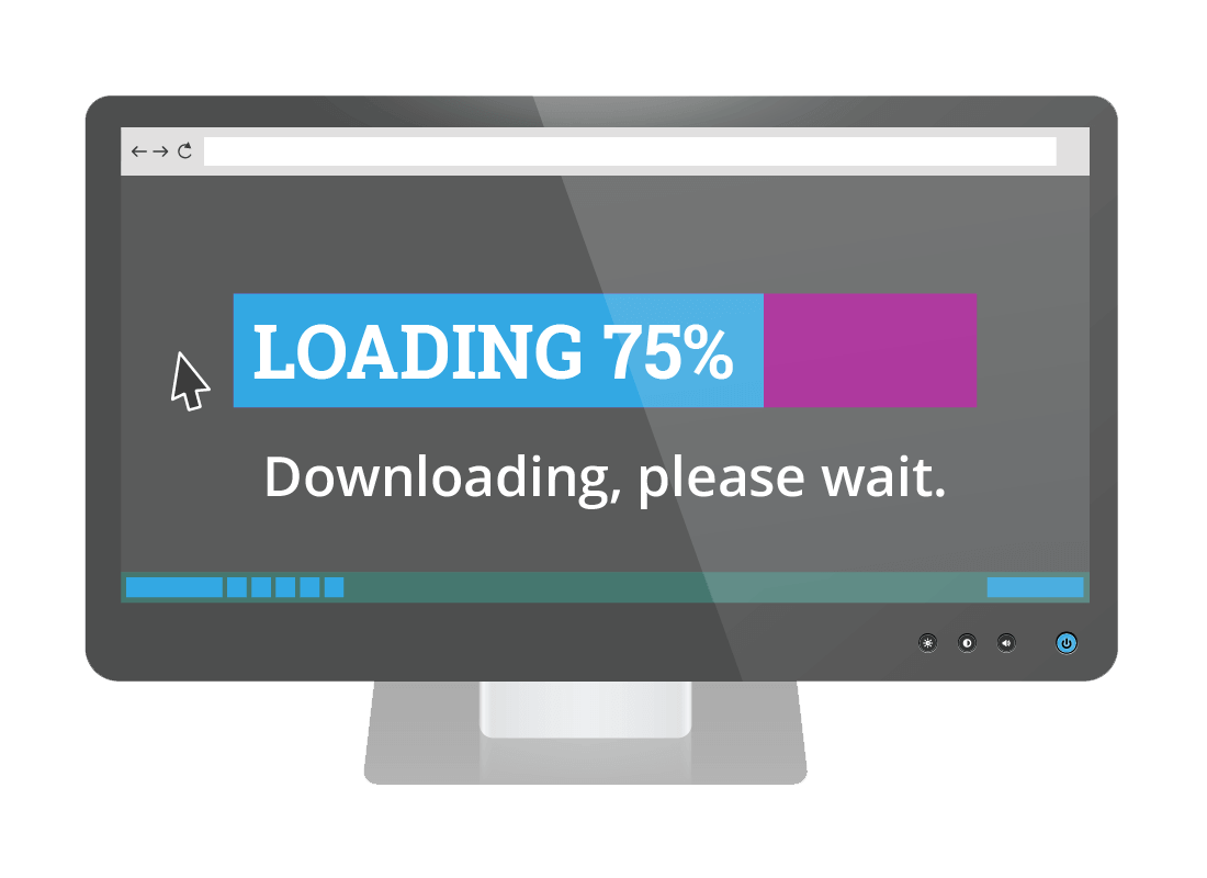 An illustration of a computer downloading a document, with a progress bar indicating how much information has been downloaded so far