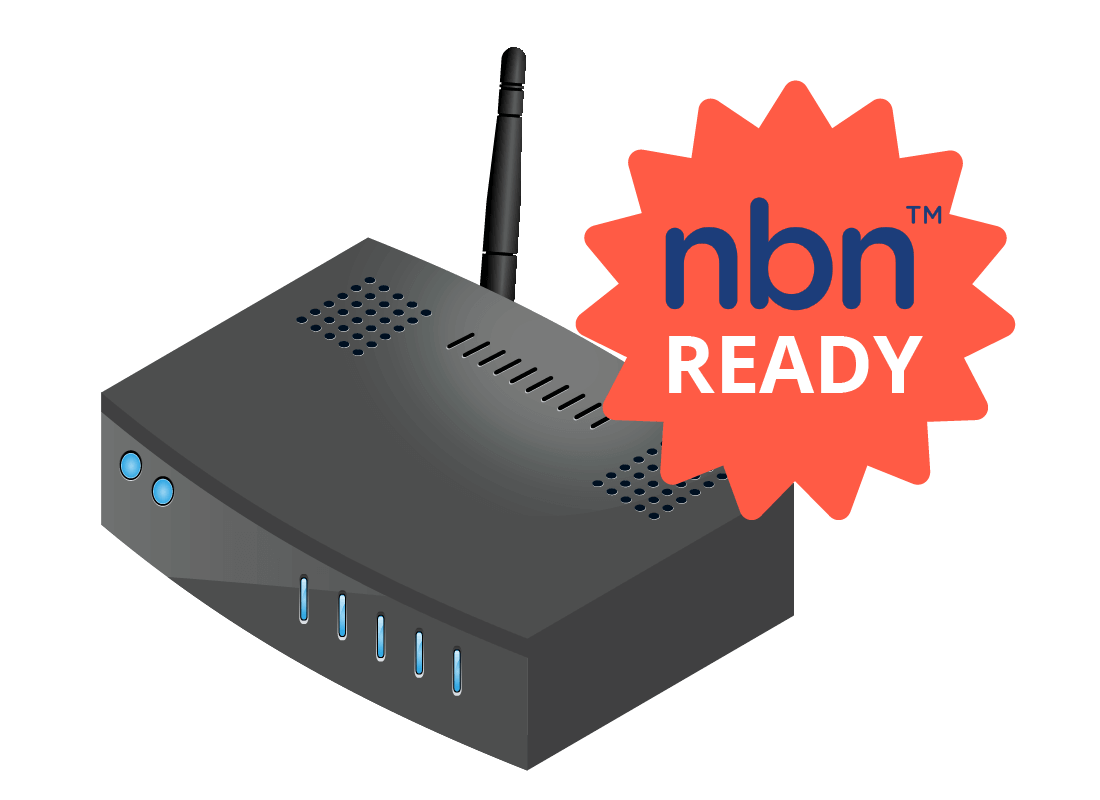 An illustration showing a router with a nbn ready sticker on it