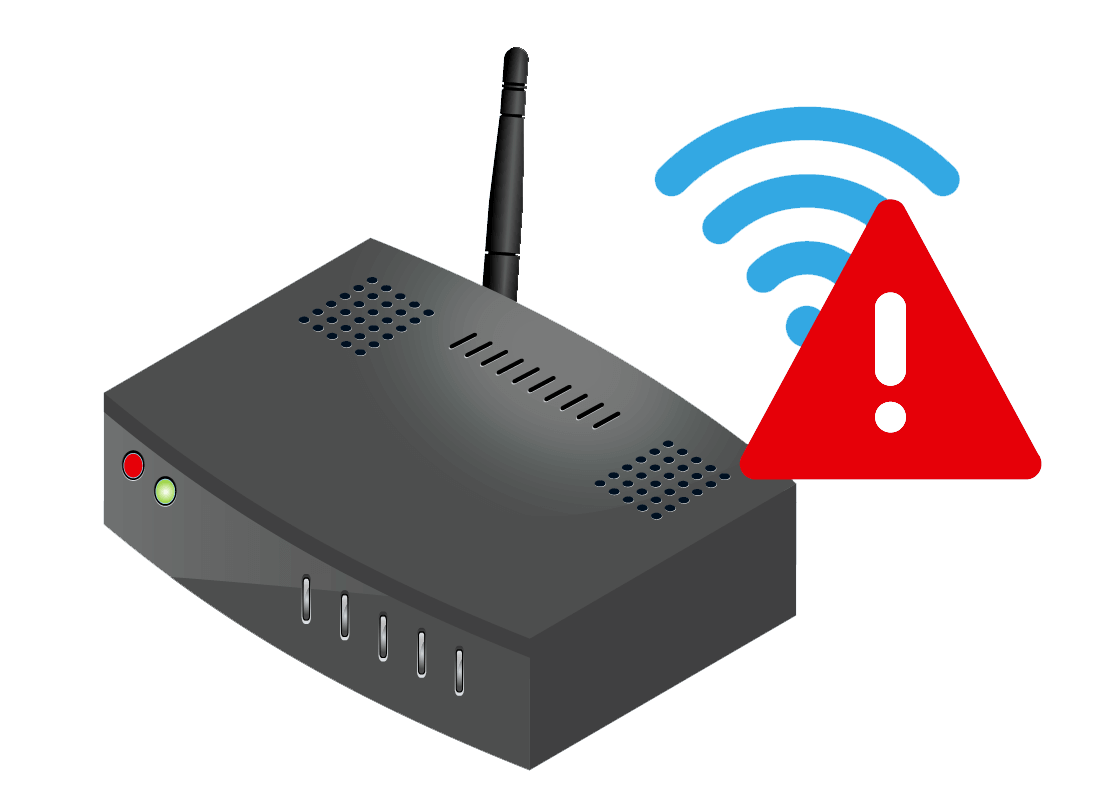 An illustration of a router with a red light on the front panel indicating all is not well