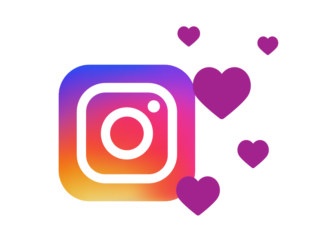 Instagram logo surrounded by hearts