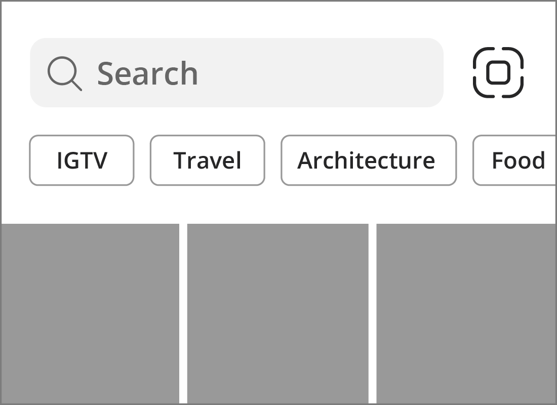 The Instagram Search screen