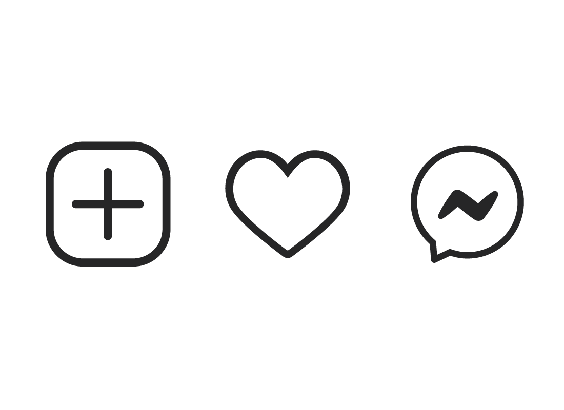 The Add, Like and Comment icons