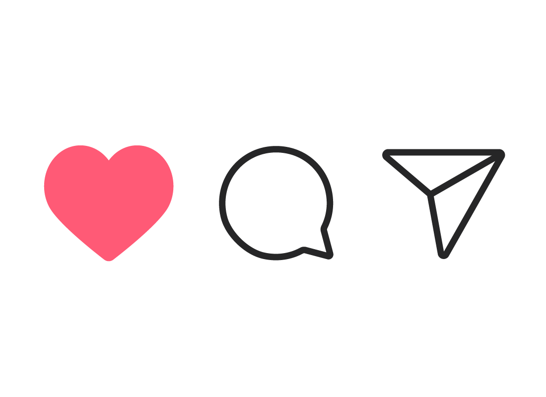 The Like, Comment and Share icons