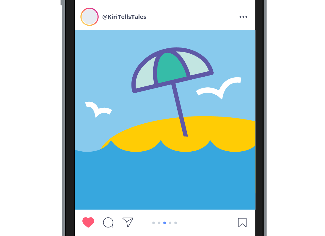 The Instagram feed showing a photo of a beach and the ocean