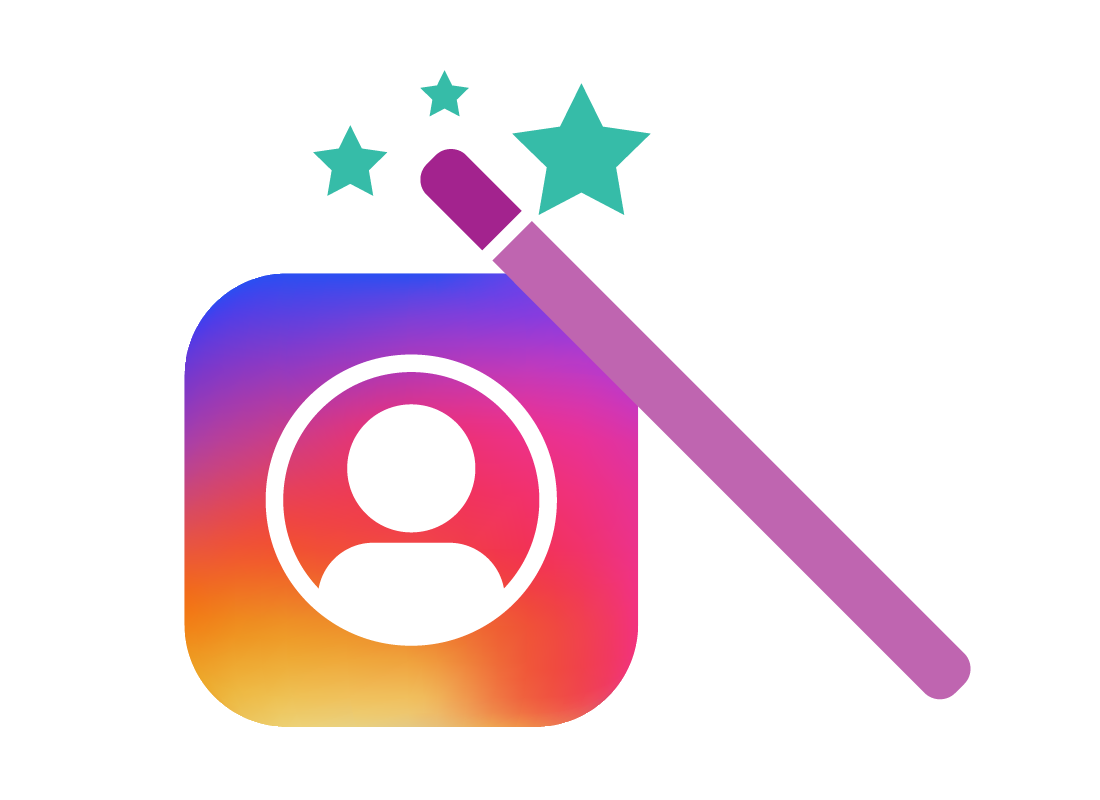The Instagram icon with a magic wand