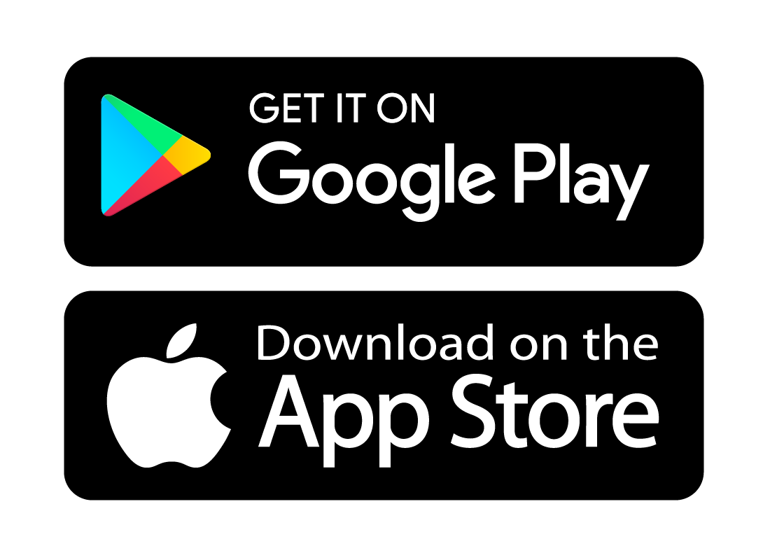 The Google Play and App store logos