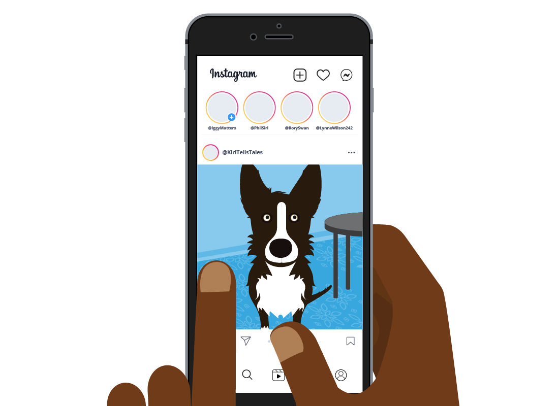The Instagram feed showing a photo of a dog