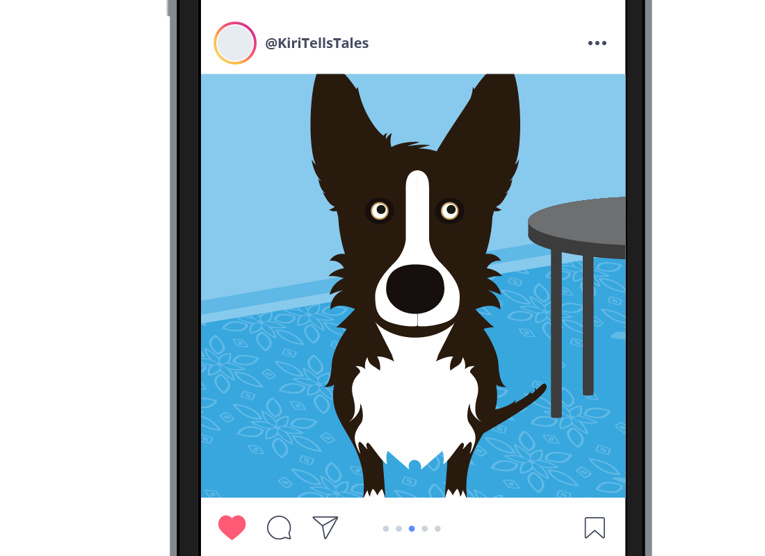 The photo of the dog in the Instagram feed