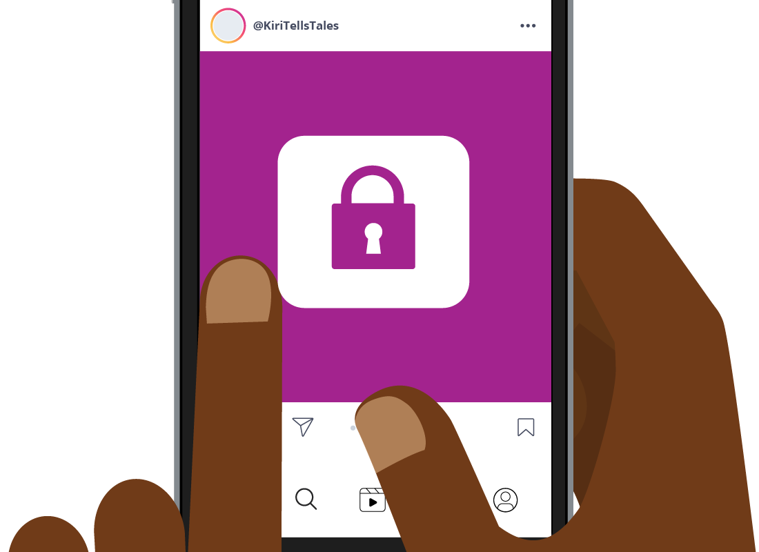An Instagram feed on a mobile device showing a padlock.