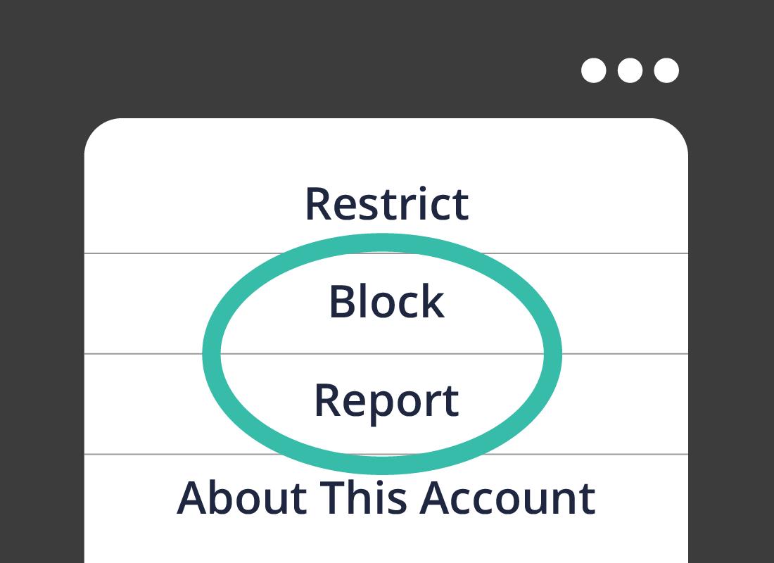 The Block and report menu options