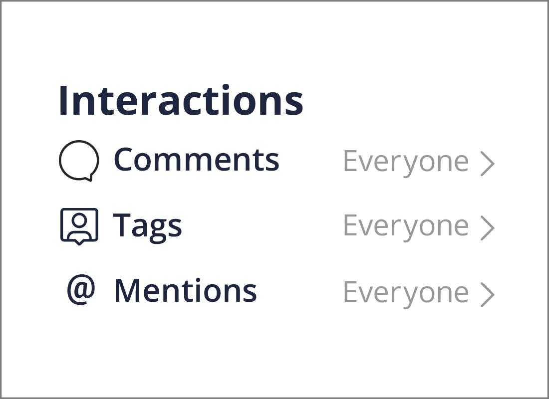 The Interactions menu