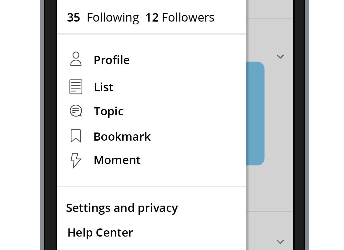 The Profile menu on Twitter