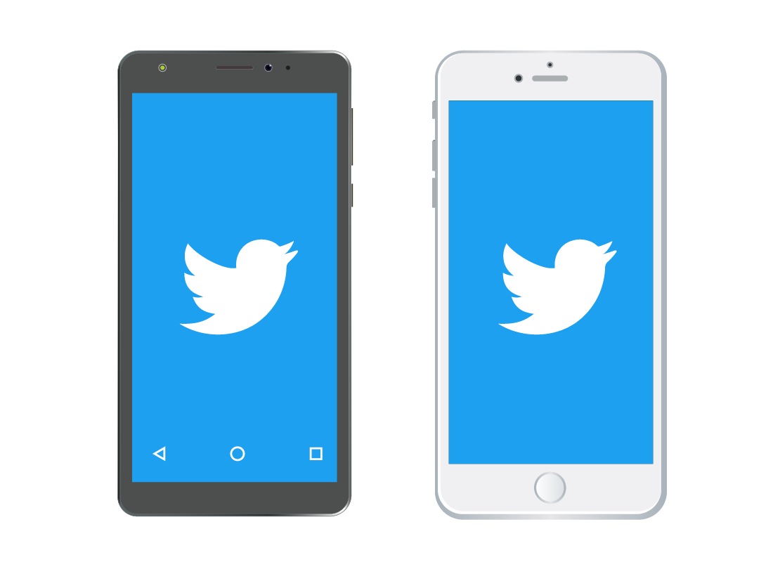 The Twitter app on an Android and Apple device