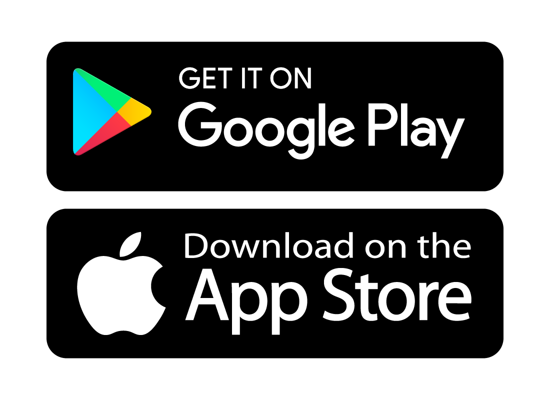 The Google Play and Apple App store icons.