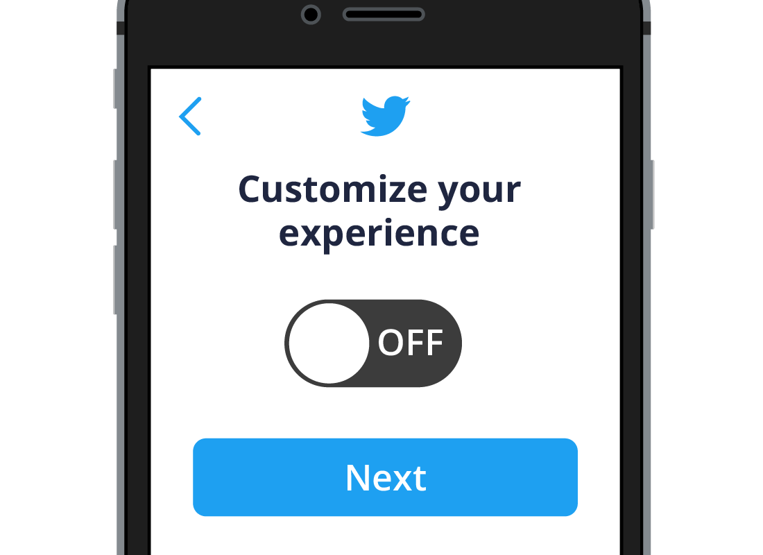 The Customise your experience option set to Off