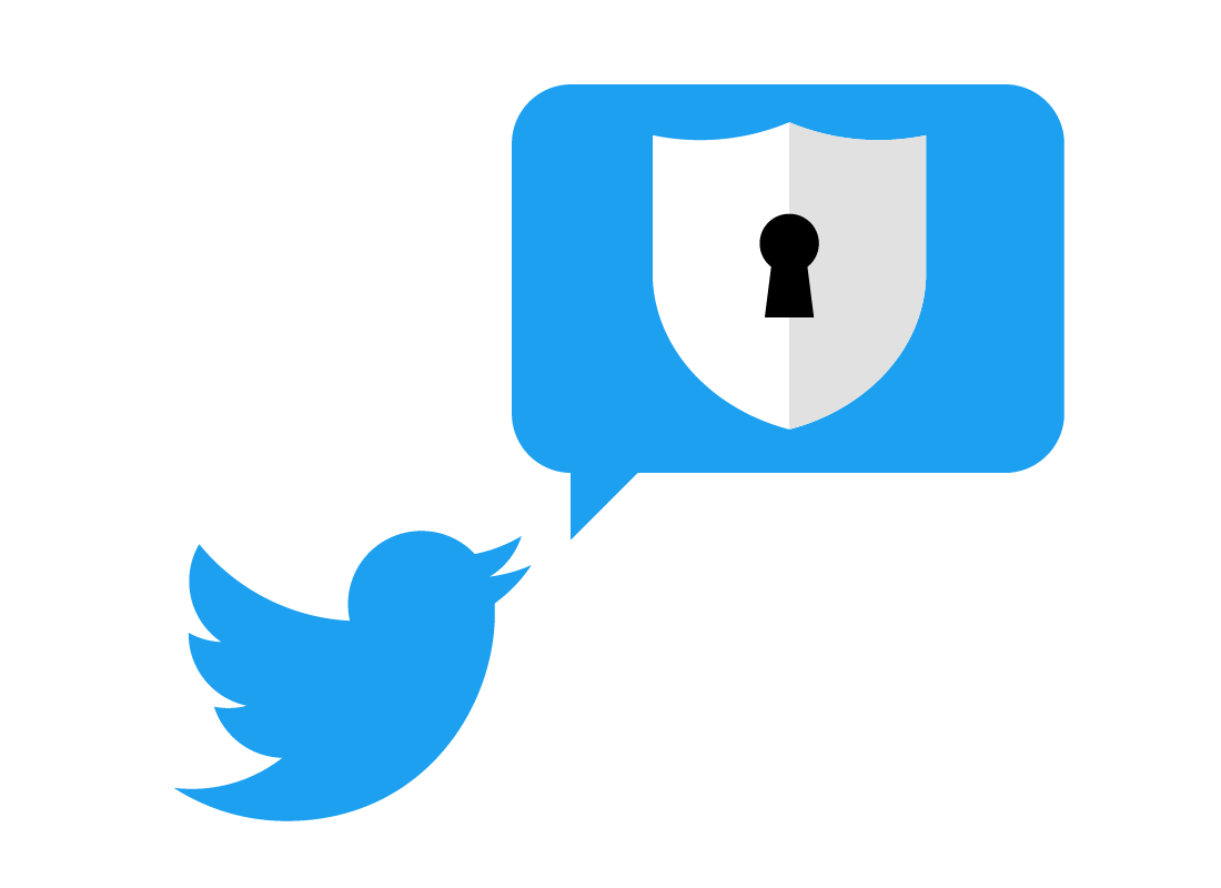 The Twitter logo with a lock next to it