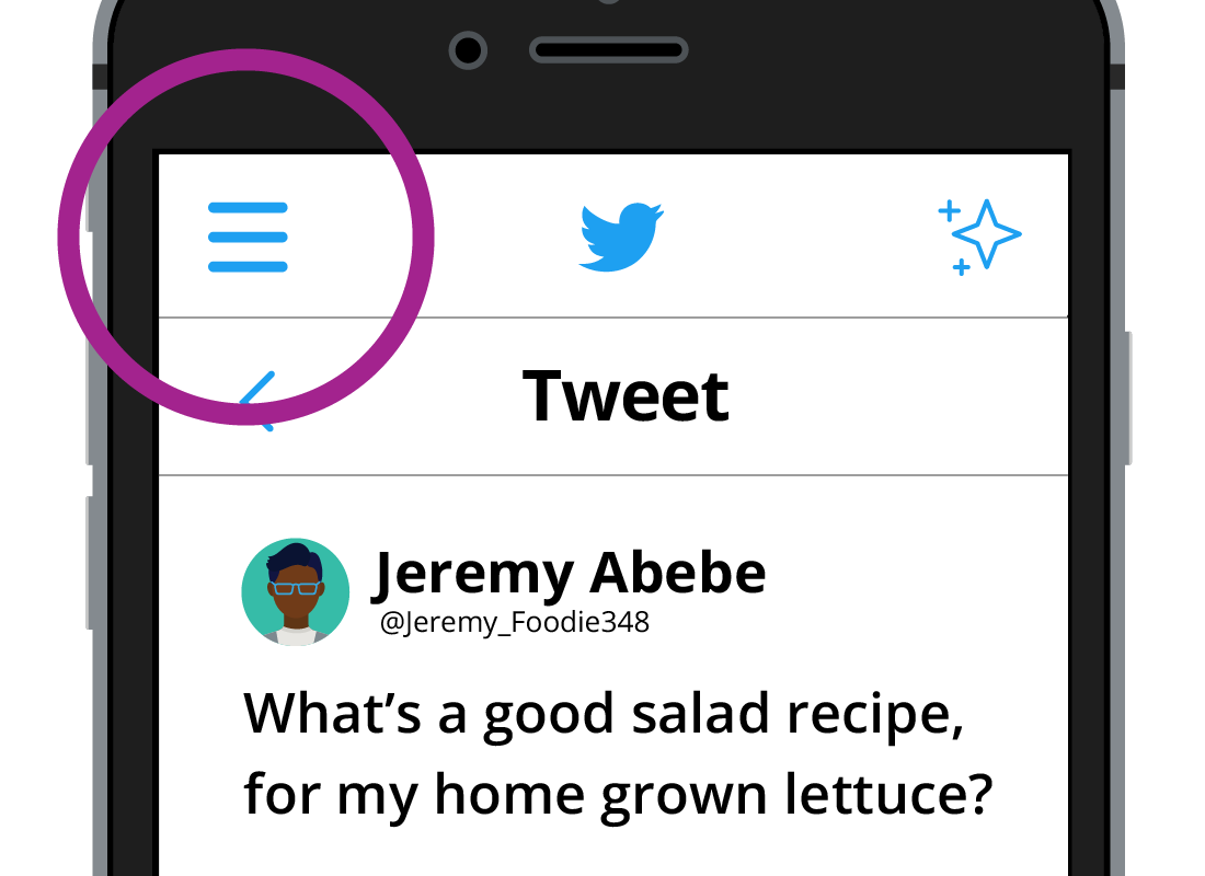 The home screen showing the highlighted hamburger menu