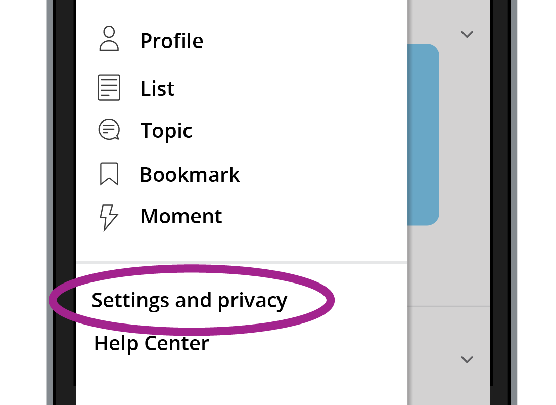 The Settings and privacy menu