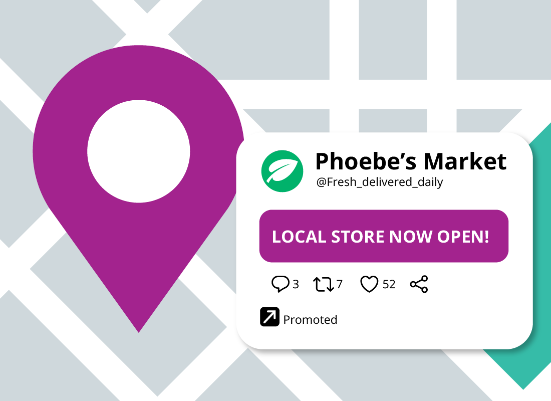 A map showing the location of Phoebe's market