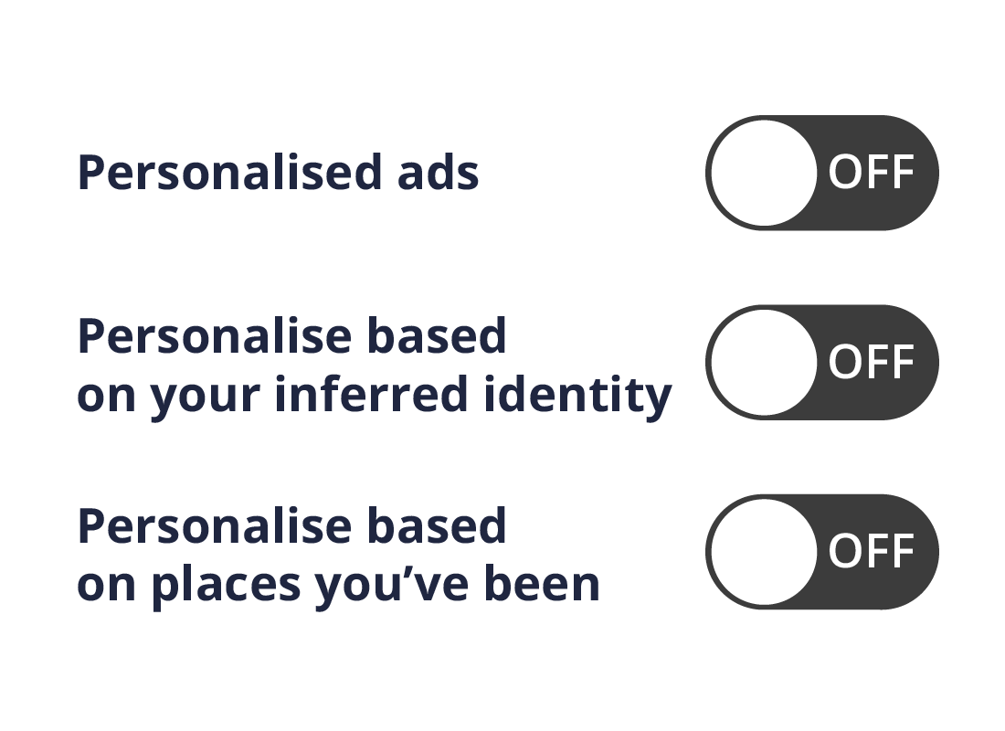 The personalisation and data menu