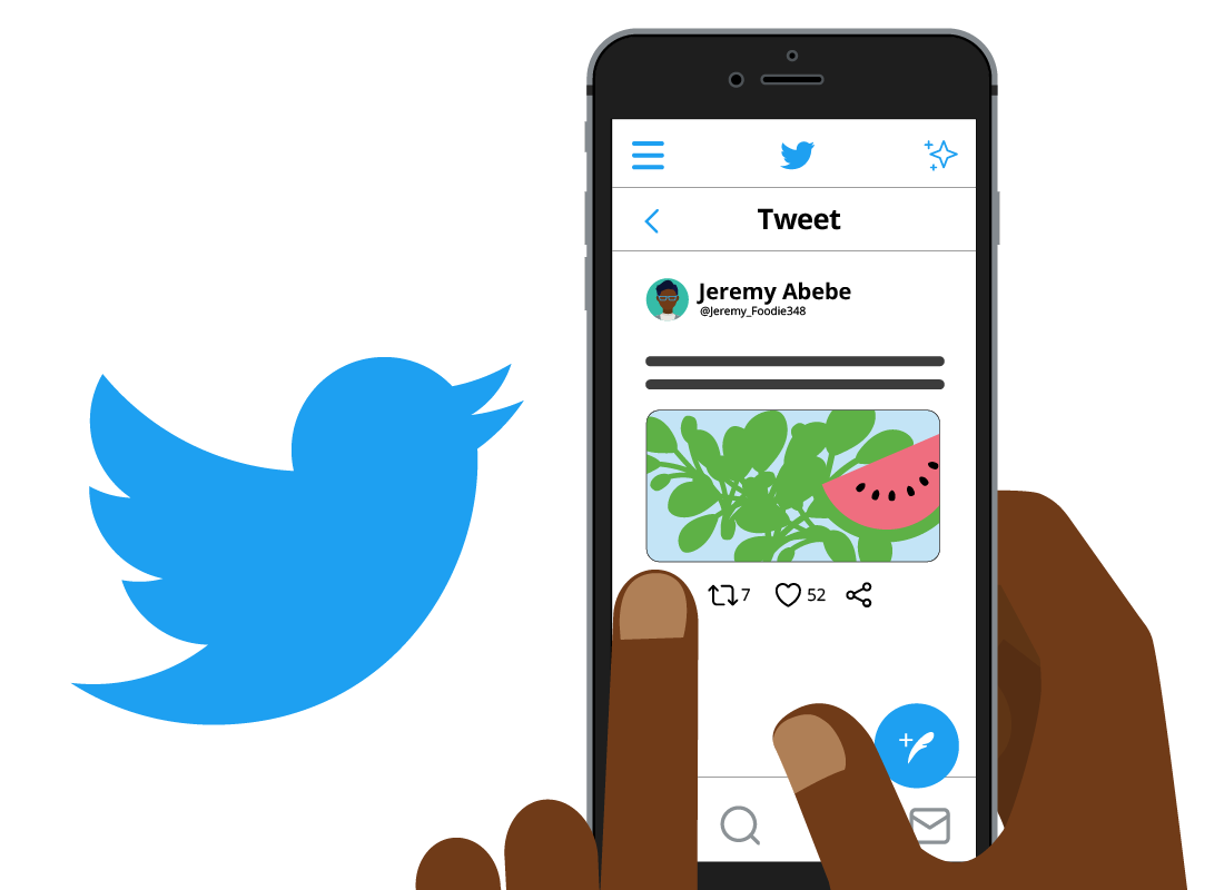 The Twitter logo and mobile device using Twitter